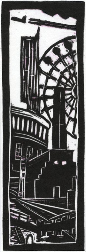 Image of Carolyn Murphy linocut 'Manchester Old & New I'