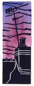 Image of a linocut with watercolour by Carolyn Murphy