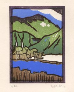 Image of Carolyn Murphy woodcut titled 'The Low Road'