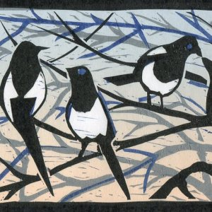 Image of a linocut of seven magpies by artist Carolyn Murphy