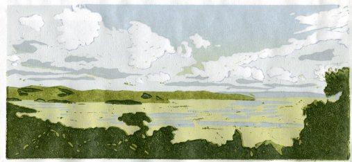 Image of artist Carolyn Murphy's linocut called 'Over Morecambe Bay'