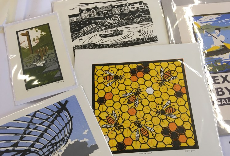 Image of the five Carolyn Murphy linocuts at the Mancheter Art Fair