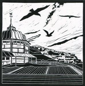 Image of 'Gulls', original linocut by artist Carolyn Murphy