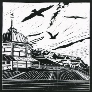 Image of 'Gulls', original linocut by artist Carolyn Murphy