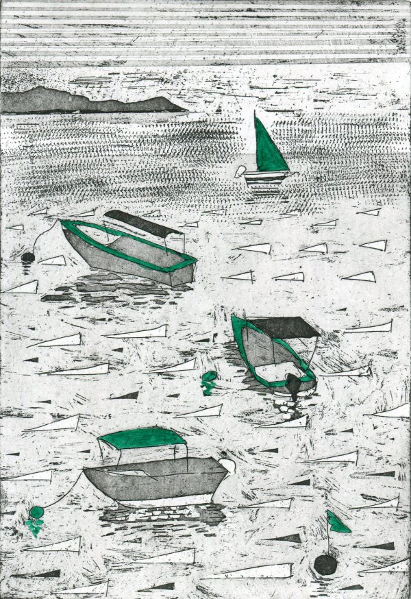 Image of 'Little Boats', an original etching by artist Carolyn Murphy