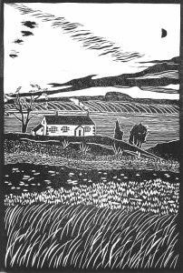 Image of 'Stop the World', an original linocut by artist Carolyn Murphy