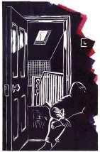 Image of linocut '5am' by Carolyn Murphy