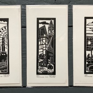 Image of 'Manchester Old & New' series of original linocuts by Carolyn Murphy