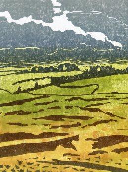 Image of 'Above Ullswater' linocut by Carolyn Murphy