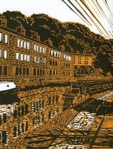 Image of 'Rochdale Canal' linocut by Carolyn Murphy