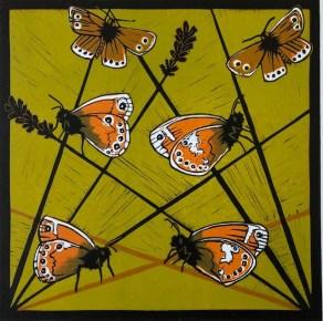 Image of 'Welcome Home' original linocut by Carolyn Murphy
