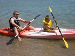 Kevin and Nicholas kayaking on Lake Huron
