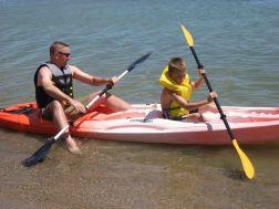 Kevin and Nicholas kayaking on Lake Huron