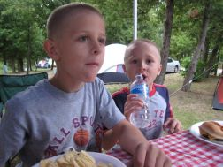 Zack and J.D. enjoying some supper
