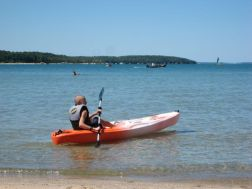 Luke in the kayak on Lake Charlevoix