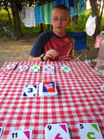 Nick playing Skip Bo