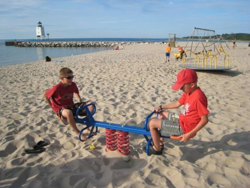 Nick and Jake on the beach at Charlevoix