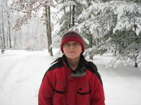 Nicholas outside enjoying all the snow