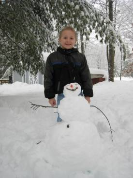 Josiah and the snowman he made today