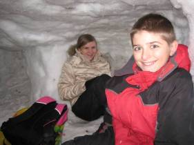 Kristi and Jacob in the snow tunnel