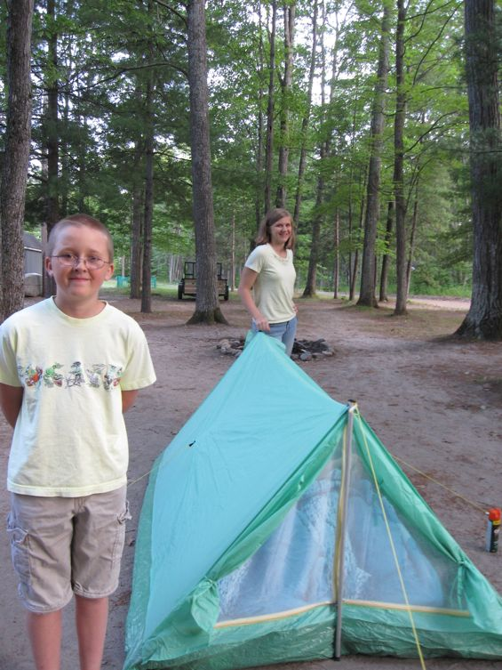 Nick and Kristi by the pup tent