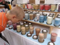 Zach checking out some candles