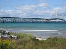 The bridge from Mackinaw City