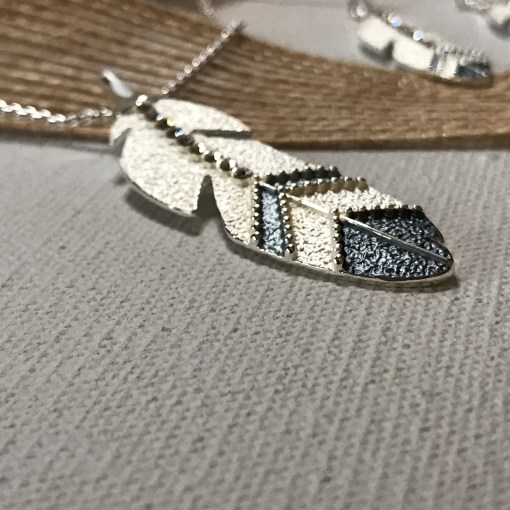 Eagle Feather Necklace Carol Young Silver