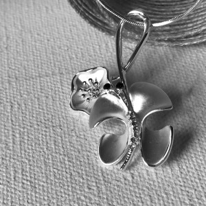 Hibiscus Butterfly Necklace all silver