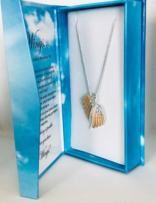 WY-025 Two tone wing necklace in box