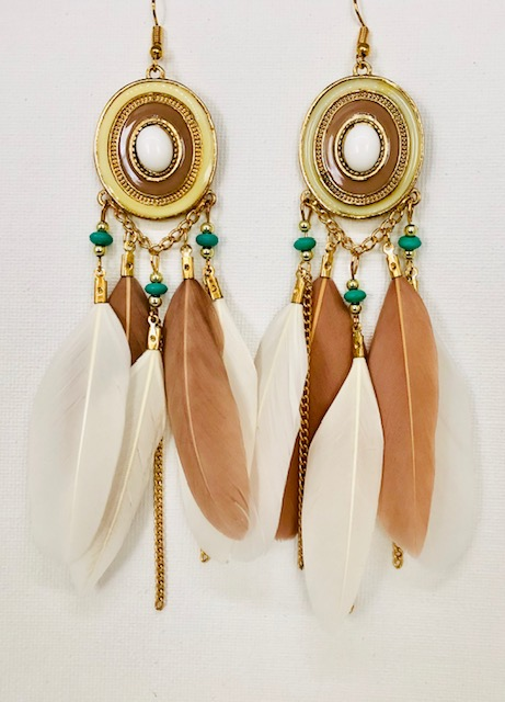 CYS Carol Young Silver Boho Western Feather earrings chains