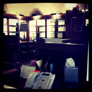 View of the reference desk at Manuscripts and Archives
