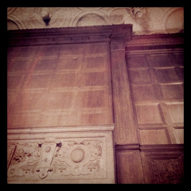 View of the ceiling and fireplace of the L&B Room, Sterling Memorial Library