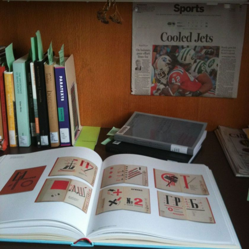 Books and ephemera in a carrel at Hampshire College, 2011