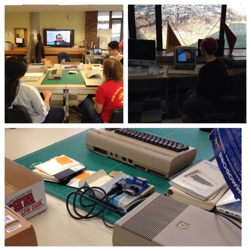Three photographs of of a video conference, students working with an iMac and a close up of a C 64 console.