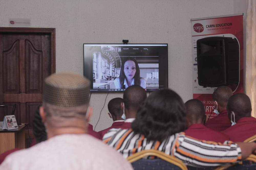Korinn Rubis of Toronto Film School interacting with students via Video conferencing at Carpa Education.