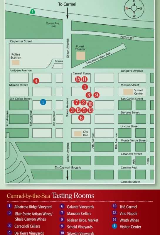 Carmel Wine Walk Map