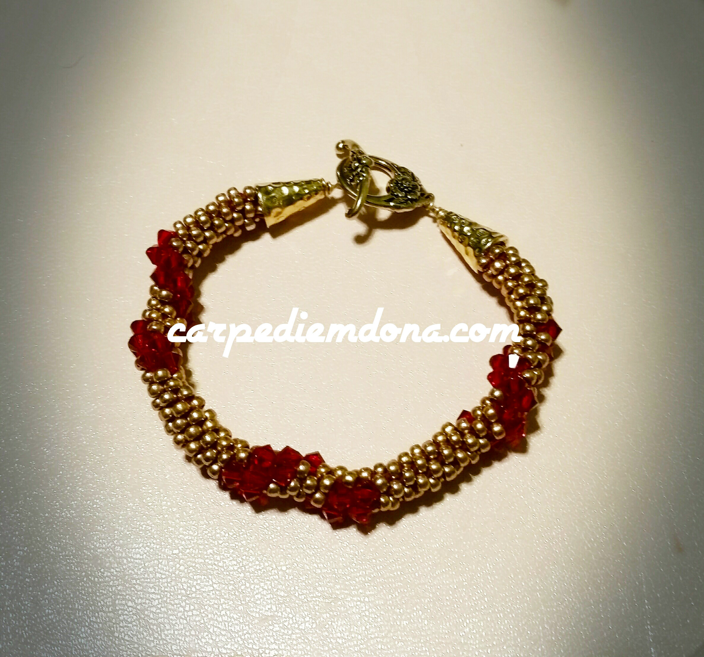 Kumihimo Gold and Red Spiral Bracelet