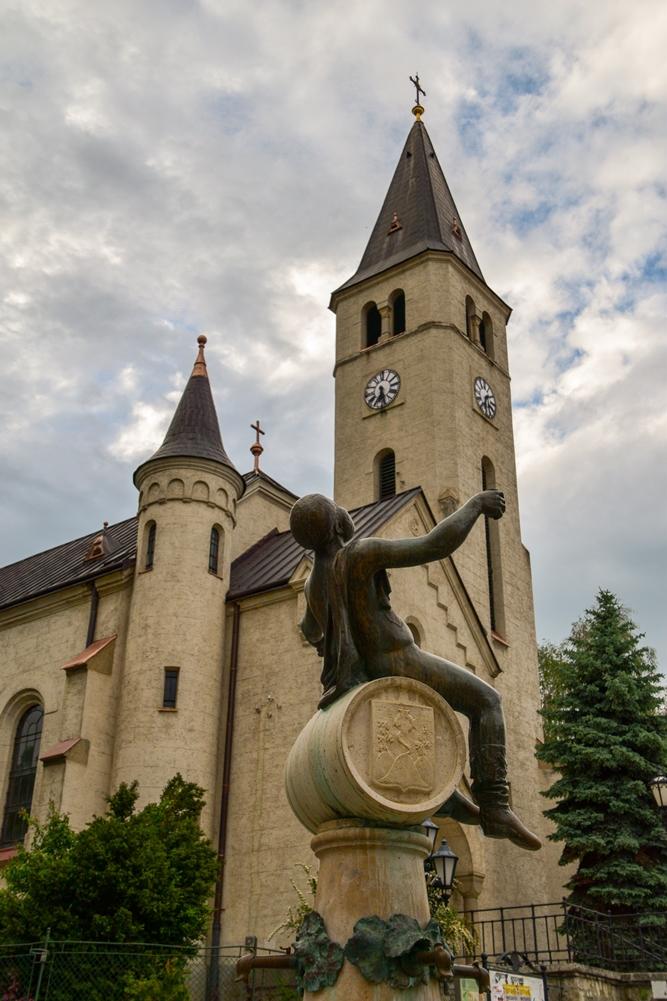 Bacchus Statue and Catholic Church, Tokaj