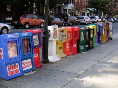 I Iike the colorful Newspaper Boxes, Boston, USA
