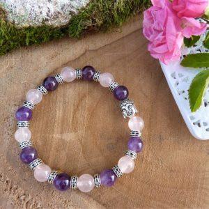 Bracelet tibétain améthyste et quartz rose pour Femme fait main