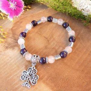 Bracelet améthyste celtique avec perle entrelacs et breloque arbre de vie pour Femme