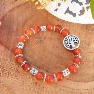 bracelet cornaline avec arbre de vie pour Femme
