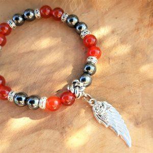 Bracelet cornaline et hématite avec breloque aile pour Femme