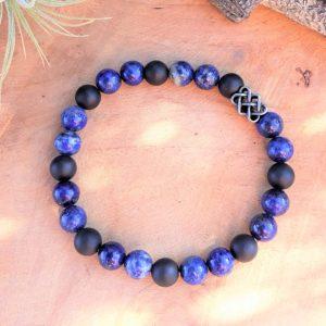 bracelet homme lapis lazuli agate noire et perle entrelacs acier