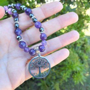 collier améthyste hématite arbre de vie inox sérénité paix chakra couronne