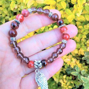 bracelet Talisman quartz fumé jaspe rouge obsidienne acajou protection énergie vitalité projet