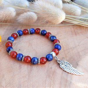 bracelet cornaline lapis lazuli femme apaisement courage confiance créativité communication protection 1