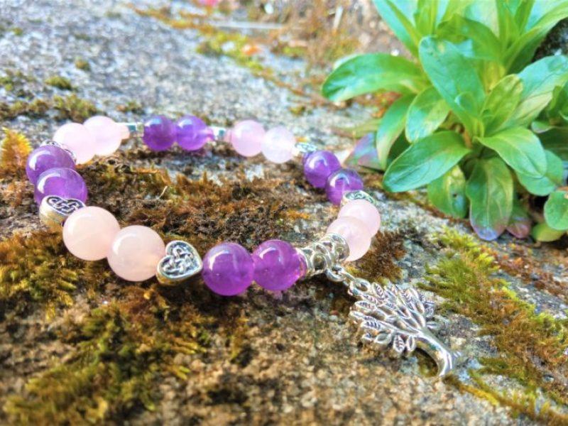 bracelet améthyste quartz rose femme arbre de vie