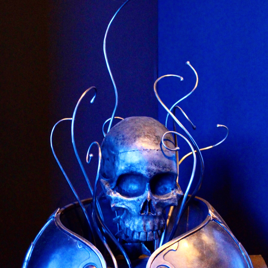 Le crâne élégant de métal, Rochefort-en-terre, Morbihan, Musée Naïa